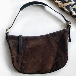 Coach Vintage Brown Suede Shoulder Bag Purse